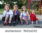 Children eating ice cream - stock photo