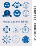 Ocean And Sea Labels And Stamp...
