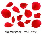 Stock vector beautiful red rose petals vector format 96319691