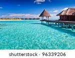 overwater spa in blue lagoon...   Shutterstock . vector #96339206