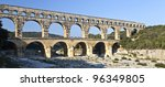 View of Pont du Gard, an old Roman aqueduct in southern France near Nimes - stock photo