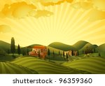 Rural Landscape With Fields An...