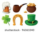 set of st. patrick's day icons. ... | Shutterstock .eps vector #96361040