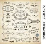 vector set of calligraphic... | Shutterstock .eps vector #96365672