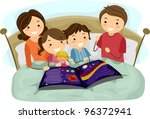 illustration of kids listening... | Shutterstock .eps vector #96372941