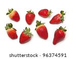 Strawberries isolated on a white studio background. - stock photo