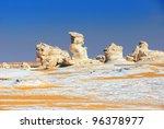 Unusual limestone formation in the White desert, Sahara, Egypt - stock photo
