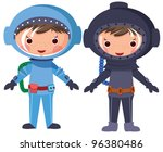 Cartoon Astronaut And Diver....