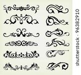 vector set  calligraphic design ... | Shutterstock .eps vector #96382910
