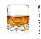whisky glass and ice isolated... | Shutterstock . vector #96387689