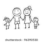 happy family with father mother ... | Shutterstock .eps vector #96390530