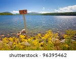 landscape with sign prohibiting ...