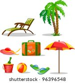 travel icons  palm  ball ... | Shutterstock .eps vector #96396548
