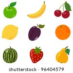 the big set of fruit. cartoon... | Shutterstock .eps vector #96404579