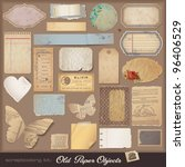 old paper objects  2    variety ... | Shutterstock .eps vector #96406529