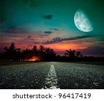 Asphalt Road And The Moon At...