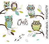 Stock vector collection of five different owls sitting on the tree brunches 96424079