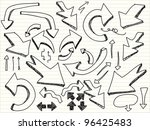 a hand drawn arrows set | Shutterstock .eps vector #96425483