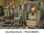 khmer buddha head at bayon... | Shutterstock . vector #96428084