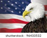 bald eagle and a us flag | Shutterstock .eps vector #96433532