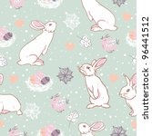 Rabbit easter seamless pattern - stock vector
