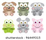Funny animal baby collection - stock vector