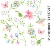 Decor Floral Elements Seamless...
