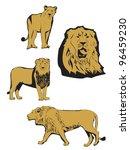 asiatic lion illustration | Shutterstock .eps vector #96459230