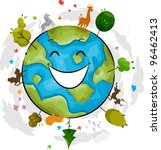 illustration of a happy earth...