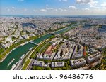 Skyline of Paris as seen from the Eiffel Tower, France. - stock photo