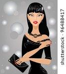 beautiful brunette with a purse | Shutterstock .eps vector #96488417