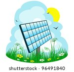 solar panel on the meadow | Shutterstock .eps vector #96491840