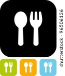 fork and spoon   vector icon...