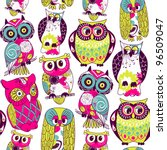 seamless and colourful owl... | Shutterstock .eps vector #96509047