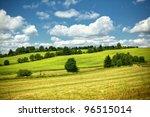 Rolling Hills Green Meadow Wit...