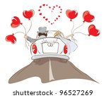 the bride and groom riding in a ... | Shutterstock .eps vector #96527269