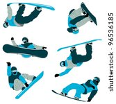 lots of snowboard action with...   Shutterstock .eps vector #96536185