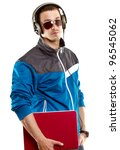man with headphones and laptop  ...   Shutterstock . vector #96545062