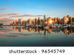 Stock photo vancouver skyline at sunset as seen from stanley park british columbia canada 96545749