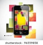 black  smart phone on white... | Shutterstock .eps vector #96559858