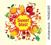 banner with fruit  and splashes ... | Shutterstock .eps vector #96560185