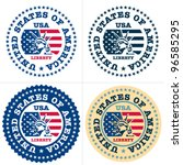 usa stamp. statue of liberty... | Shutterstock .eps vector #96585295