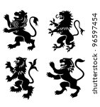 royal lions silhouettes set for ... | Shutterstock .eps vector #96597454