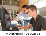 teacher and student working on... | Shutterstock . vector #96602686
