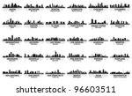 Stock vector incredible set of usa city skyline cities 96603511