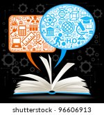 from the opened book fly speech ... | Shutterstock .eps vector #96606913