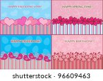 set of four greeting cards for... | Shutterstock .eps vector #96609463