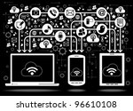 social media  communication in... | Shutterstock .eps vector #96610108