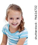 Beautiful smiling little girl portrait - isolated - stock photo