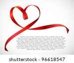 Red Heart Ribbon Bow. Vector